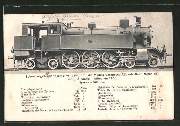 AK Schnellzug-Tenderlok gebaut für die Madrid-Saragossa-Alicante-Bahn Spanien, J. A. Maffei, München 1903