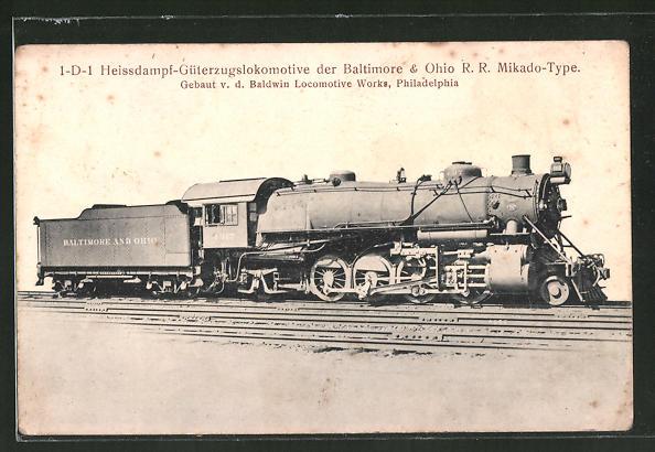 AK 1-D-1 Heissdampf-Güterzugslok. der Baltimore & Ohio RR Mikado-Type, Baldwin Locomotive Works
