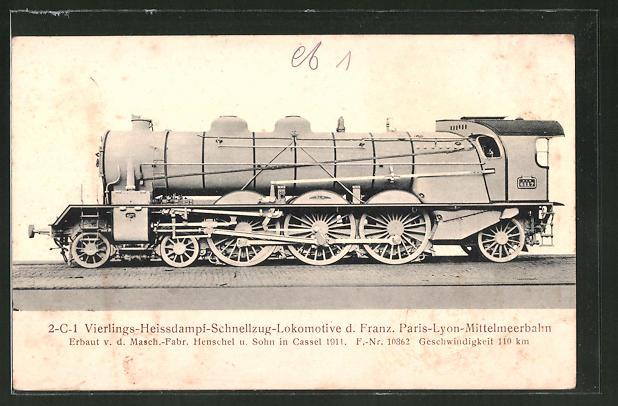 AK 2-C-1 Vierlings-Heissdampf-Schnellzug-Lok der Franz. Paris-Lyon-Mittelmeerbahn, Henschel & Sohn, Cassel 1911