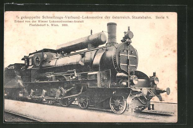 AK 3 /5 gekuppeltze Schnellzugs-Verbund-Lok der österr. Staatsbahn, Serie 9, Wiener Lokbau-Anstalt, Floridsdorf 1899