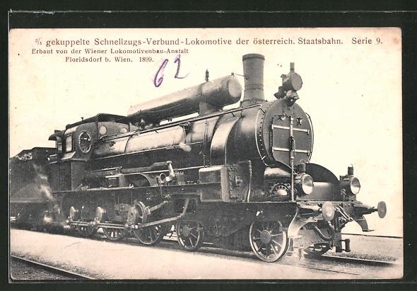 AK 3 /5 gekuppelte Schnellzugs-Verbund-Lok der österr. Staatsbahn, Serie 9, Wiener Lokbau-Anstalt, Floridsdorf 1899