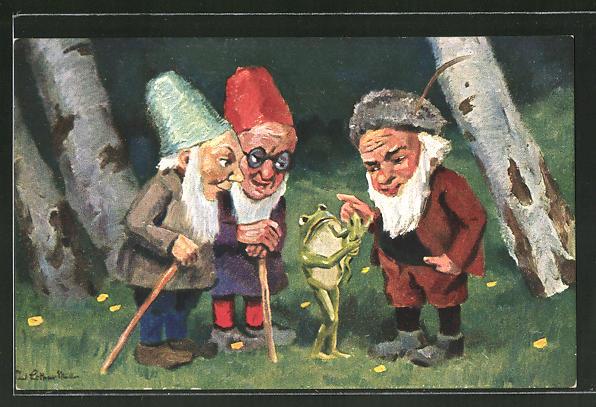 Künstler-AK Paul Lothar Müller: das Patenkind, Zwerge, Frosch mit Nachwuchs
