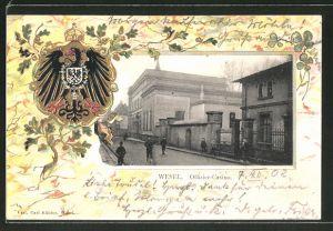 Passepartout-Lithographie Wesel, Offiziers-Casino, geprägter Passepartout-Rahmen mit Wappen