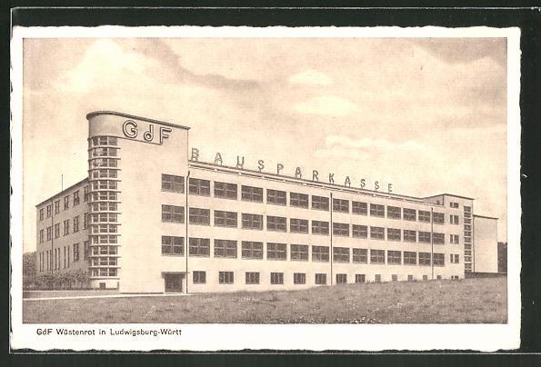 AK Ludwigsburg, Gebäude der Wüstenrot G.d.F., Bauhaus-Architektur