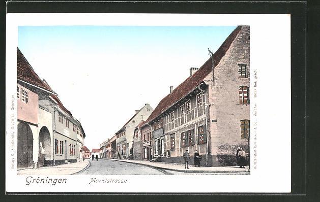 Goldfenster-AK Gröningen, Marktstrasse, Häuser mit leuchtenden Fenstern