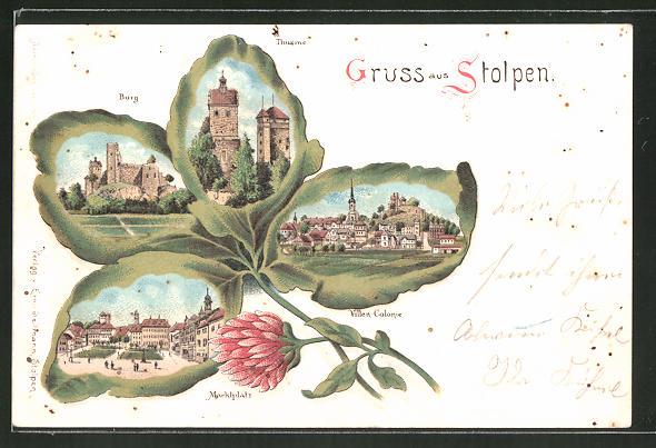 Passepartout-Lithographie Stolpen, Villen-Colonie, Burg, Türme, Markt, Kleeblatt