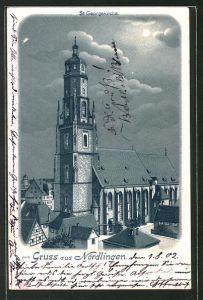 Winter-Lithographie Nördlingen, St. Georgskirche im Stadtbild bei Vollmond