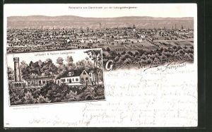 Lithographie Darmstadt, Gasthaus & Pension Ludwigshöhe, Panoramablick auf die Stadt