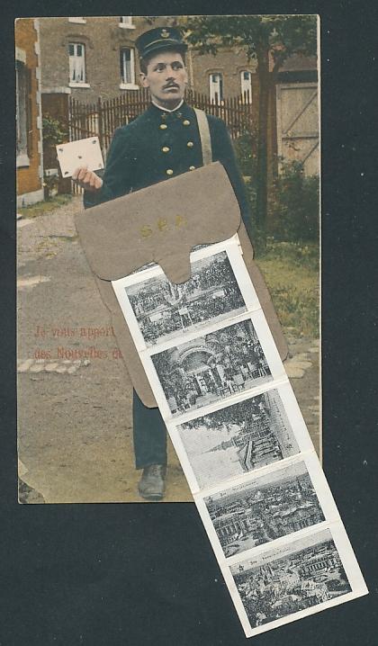 Leporello-AK Spa, Briefträger mit Posttasche, Teilansichten der Stadt
