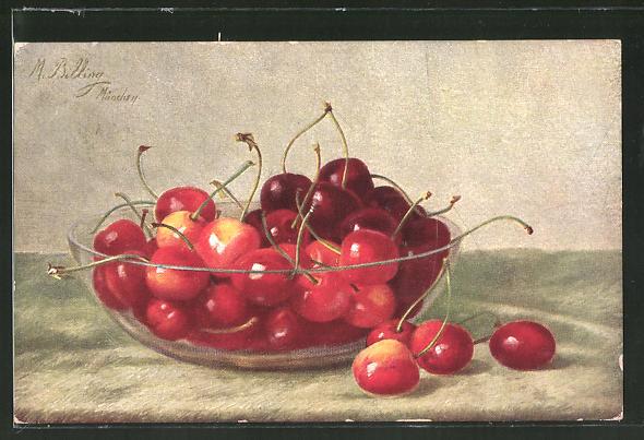 Künstler-AK M. Billing: Schale mit Kirschen