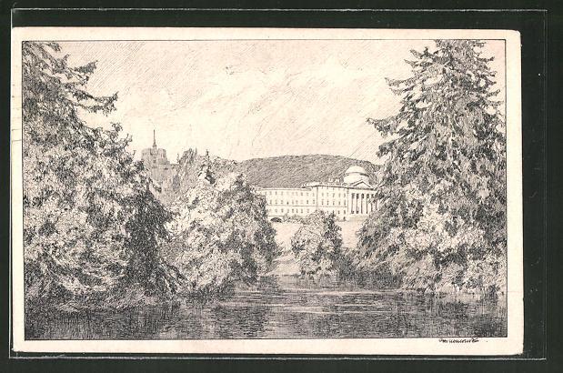 Künstler-AK Otto Ubbelohde: Wilhelmshöhe, Panorama