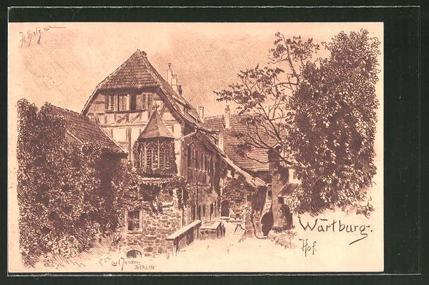 Künstler-AK Carl Jander: Hof der Wartburg