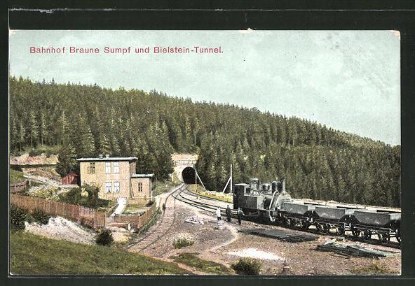 AK Bahnhof Braune Sumpf und Bielstein-Tunnel mit Kleinbahn