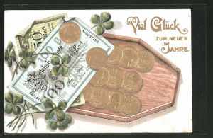 AK Reichsbanknoten und Münzen mit Geldsack und Kleeblättern