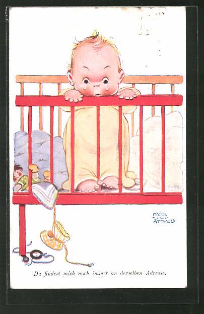 Künstler-AK Mabel Lucie Attwell: Weinendes Kleinkind im Bettchen