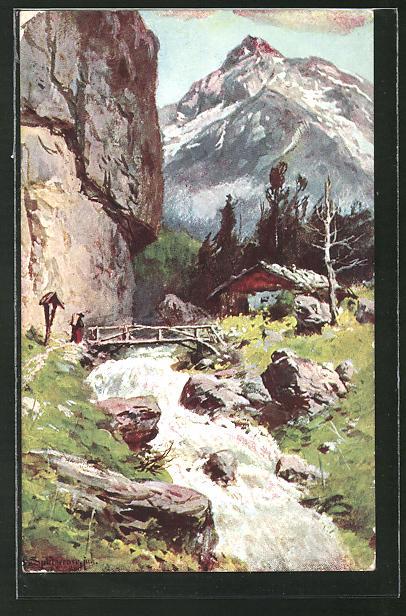 Künstler-AK August Splitgerber: Alpenlandschaft mit Bachlauf