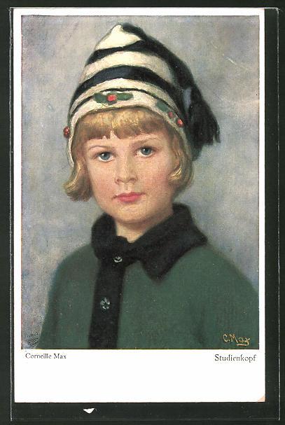 Künstler-AK Corneille Max: Studienkopf eines Kindes mit Zipfelmütze
