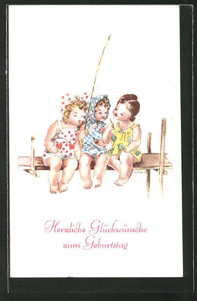 Künstler-AK Hilla Peyk: Drei kleine Mädchen mit Angel am Steg