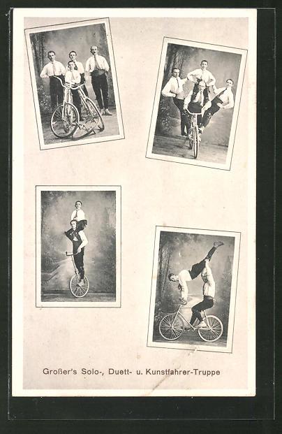 AK Grosser's Solo-, Duett- und Kunstfahrer-Truppe mit Fahrrad