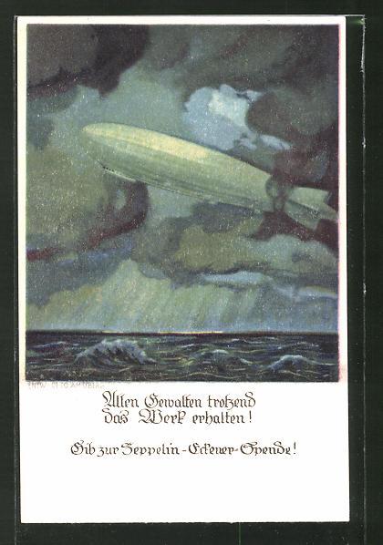 Künstler-AK Otto Amtsberg: Zeppelin-Eckener-Spende!, Allen Gewalten trotzdend...