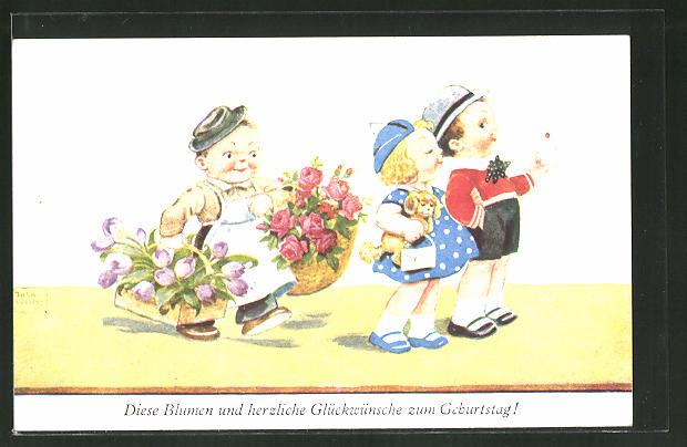 Künstler-AK John Wills: Kinder mit Blumen und Brief zum Geburtstag