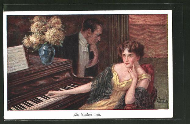 Künstler-AK Ruab Gnischaf: Ein falscher Ton, Frau sitzt am Klavier, Mann steht daneben