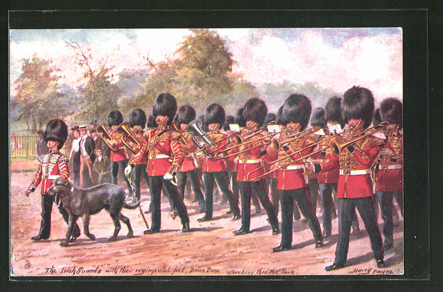 Künstler-AK Harry Payne: The irish Guards with their regimental pet marching to the Park, britische Armee