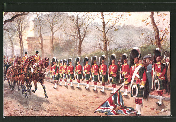 Künstler-AK Harry Payne: Dipping the Colours to Royalty, The Gordon Highlanders, britischee Armee