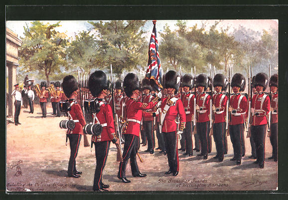 Künstler-AK Harry Payne: The Grenadier Guards at Wellington Barracks, britische Armee