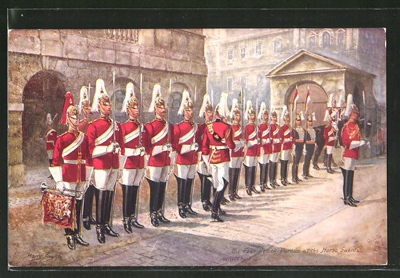 Künstler-AK Harry Payne: The Four o'clock Parade at the Horse Guards, Whitehall, britische Armee