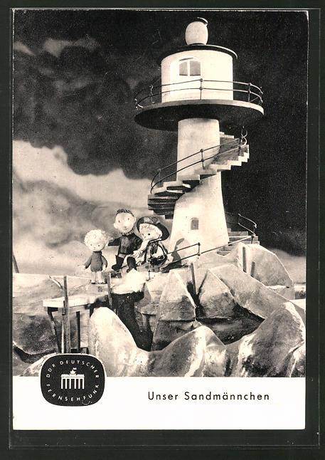 AK Sandmännchen am Fusse eines Leuchtturmes