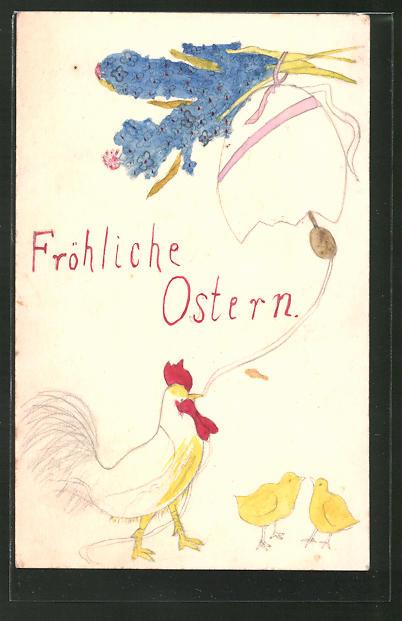 Künstler-AK Handgemalt: Fröhliche Ostern, Hahn läutet eine Eierschalen-Glocke