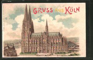 Lithographie Köln, Blick auf den Kölner Dom, Halt gegen das Licht
