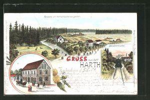 Lithographie Zwenkau, Panorama vom Harthschlösschen aus gesehen, Gasthaus Harthschlösschen, Bahnwärterhäuschen