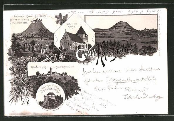 Lithographie Göppingen, Kreuzzug Kaiser Friedrich I., Barbarossa Kirche, Kloster Lorch, Hohenstaufen Grab
