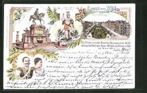 Lithographie Köln-Neustadt, Kaiser Wilhelm I. Denkmal, Kaiser Wilhelm-Ring