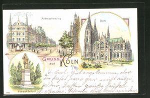 Lithographie Köln, Hohenzollernring, Dom, Bismarck-Denkmal
