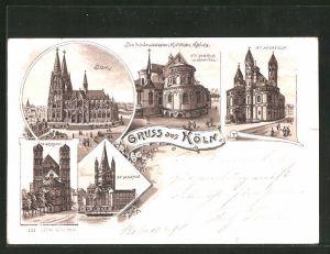 Lithographie Köln, St. Gereon, St. Maria im Capitol, St. Aposteln