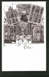 Lithographie Köln, Inneres der Kirche St. Ursula, Inneres des Doms