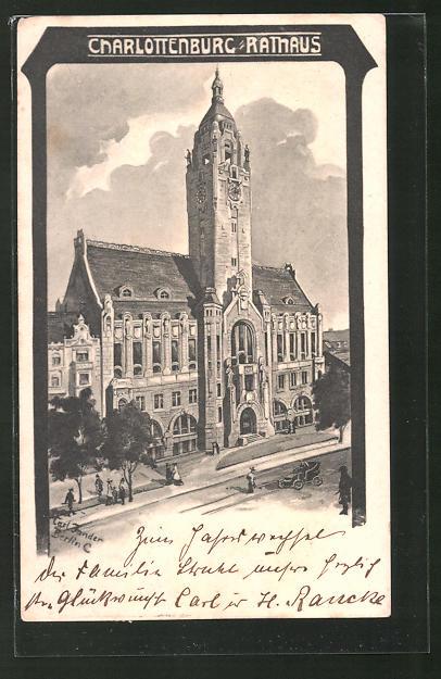 Künstler-AK Carl Jander: Berlin-Charlottenburg, Blick auf das Rathaus
