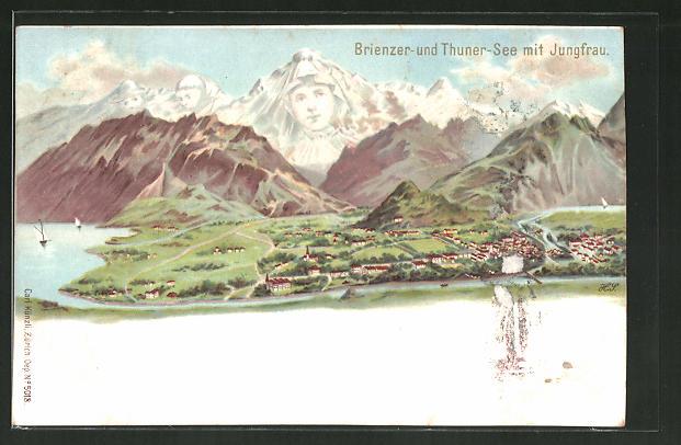 Lithographie Künzli Nr. 5018: Brienzer- und Thuner-See mit Jungfrau, Berg mit Gesicht / Berggesichter