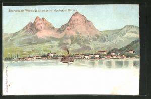 Lithographie Künzli Nr. 5022: Brunnen, Panorama Vierwaldstättersee mit Mythen, Berg mit Gesicht / Berggesichter