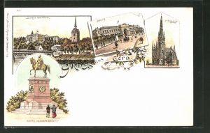 Lithographie Gera, Schloss Osterstein, Bahnhof, St. Johanniskirche, Kaiser Wilhelm-Denkmal