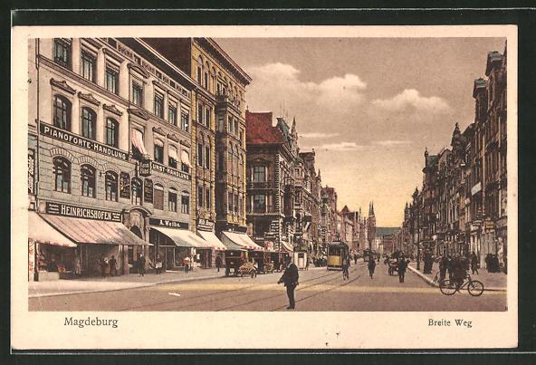 AK Magdeburg, Strassenpartie am Breiten Weg, Strassenbahn
