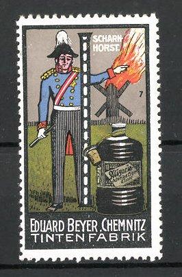 Reklamemarke Tintenfabrik Eduard Beyer, Chemnitz, Serie: Befreiungskriege: Porträt von Scharnhorst