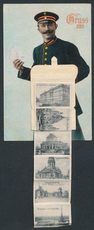 Leporello-AK Berlin, Briefträger mit Posttasche voller Ansichten, Reichstagsgebäude, Gendarmenmarkt