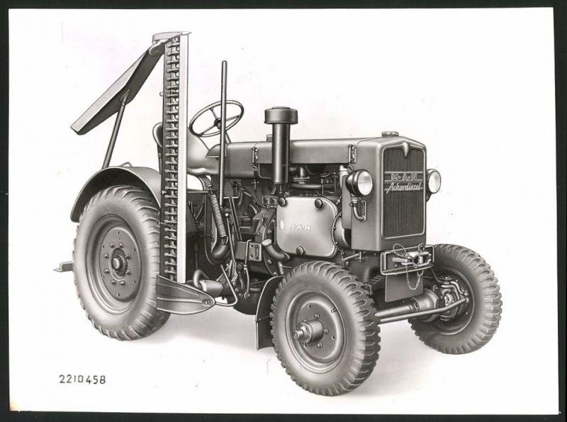 Fotografie Traktor MAN Ackerdiesel, Schlepper mit Mähwerk und Mähbalken, Werkfoto