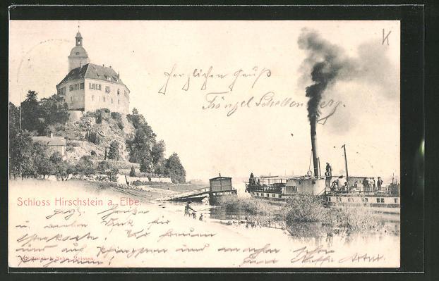 AK Hirschstein a. Elbe, Dampfer am Schloss