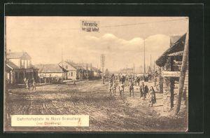 AK Novo-Svenziany, Strassenpartie am Bahnhofsplatz