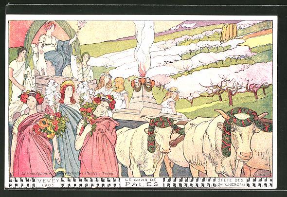 Künstler-AK Vevey, Fete de Vignerons 1905, Le Char de Pales